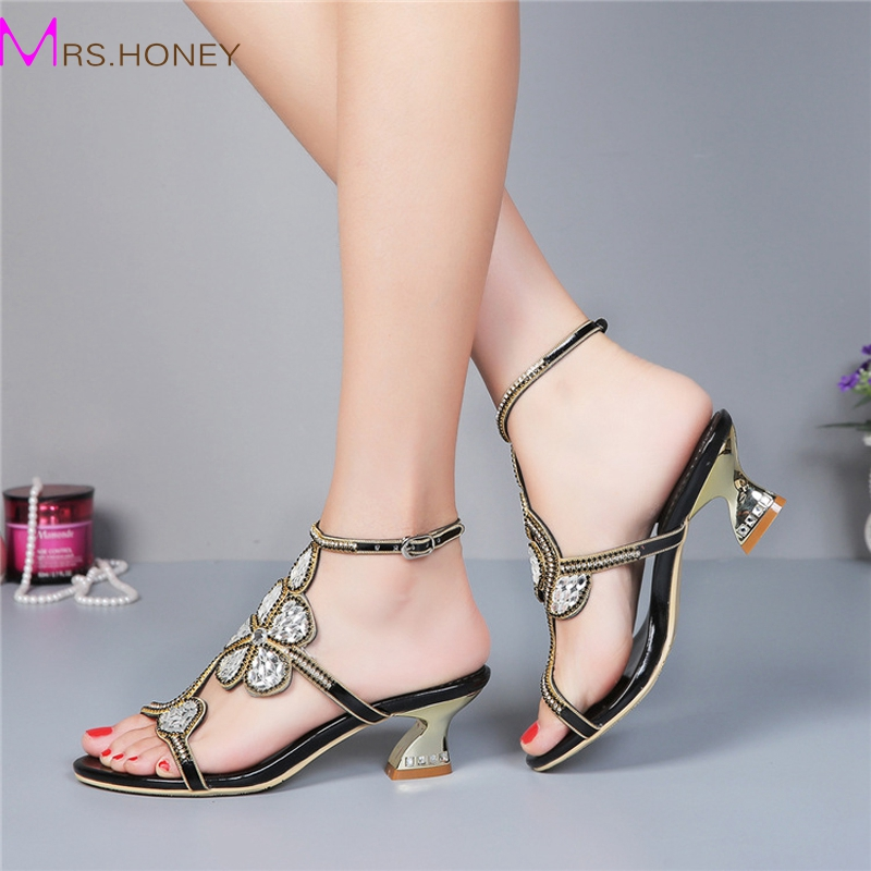 Kitten Heel Gold Rhinestone Wedding Sandals Slingback Comfortable Party  Dancing Shoes Chunky Heel 2 Inches Summer - Online Get Cheap 1 Inch Heel Shoes For Women -Aliexpress.com