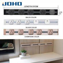 все цены на JOHO 100CM Wall Power Socket Aluminum 8000W EU Standard Electrical Outlet With Dual USB For Living Room Kitchen Plug Sockets онлайн