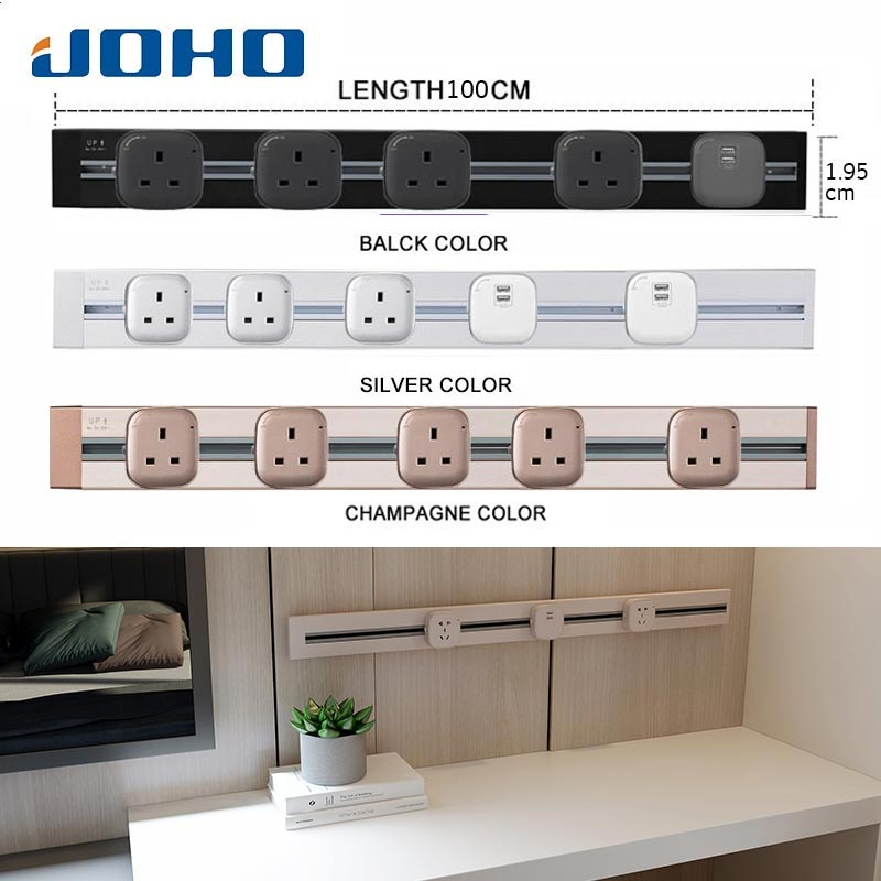 JOHO 100CM Wall Power Socket Aluminum 8000W EU Standard Electrical Outlet With Dual USB For Living Room Kitchen Plug Sockets