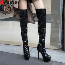 ASUMER/Большие размеры 34-46, модные ботфорты обувь на очень высоком каблуке с круглым носком Классическая обувь для выпускного вечера ботинки на платформе г. Новинка