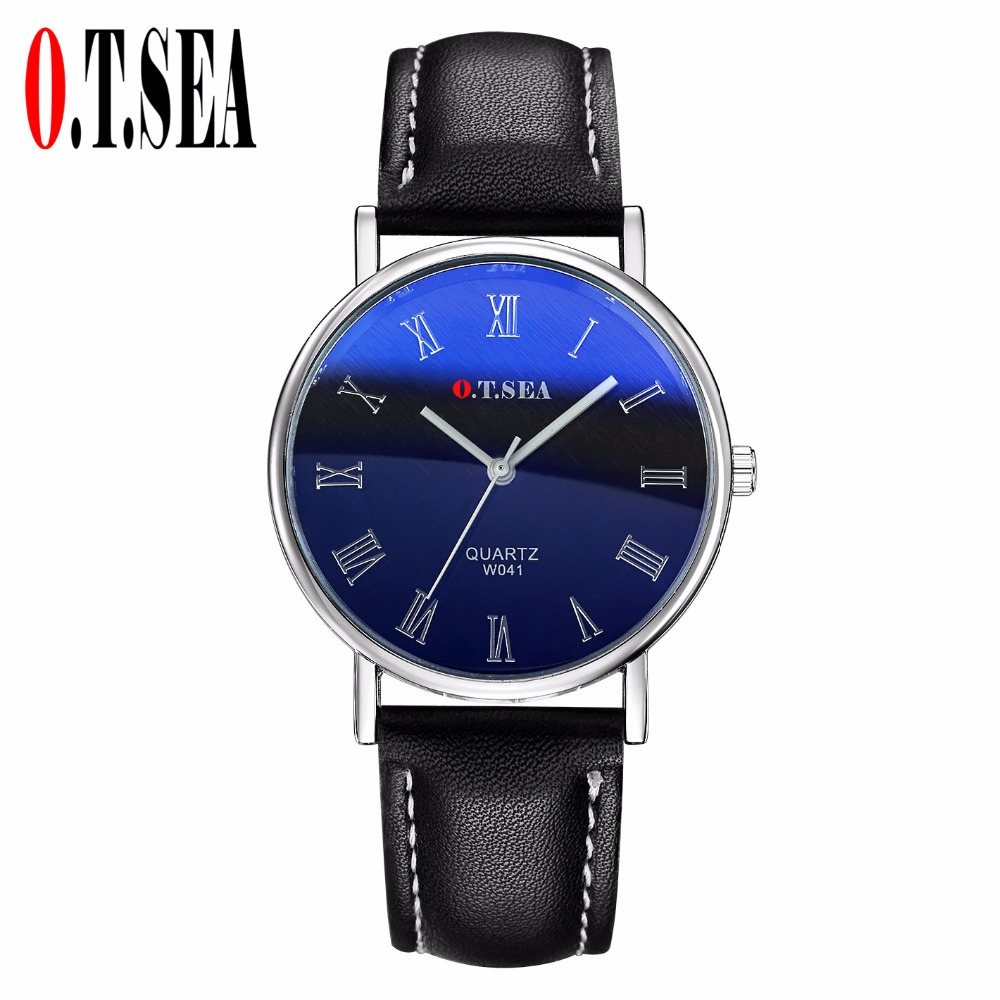 Luxury O.T.SEA Brand Blue Ray Glass Faux Leather Watch Men Fashion Sports Quartz Wrist Watches Relogio Masculino W041 classic watch fashion men s luxury quartz watches faux leather blue ray glass hodinky analog brand relogio feminino high quality