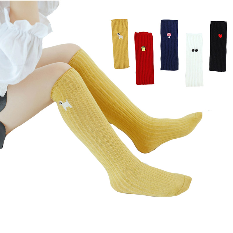 Cute Kids Socks For Girls Boys Winter Cotton Socks Knee High Children Socks Solid Kids Products