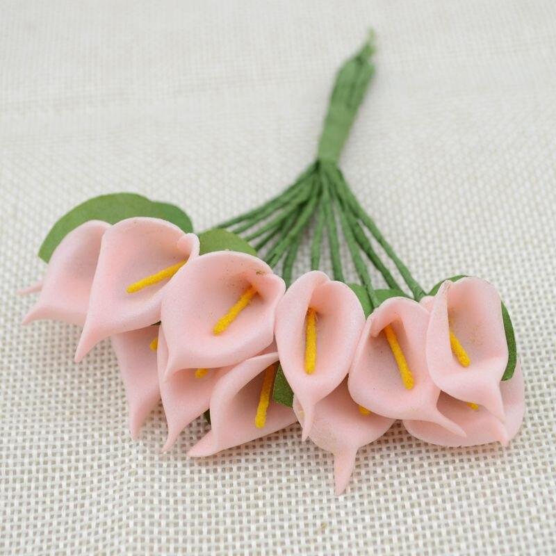 12 шт. мини пена Калла ручной работы искусственный цветок свадебное оформление букета DIY ВЕНОК Подарочная коробка Скрапбукинг Ремесло поддельные цветы