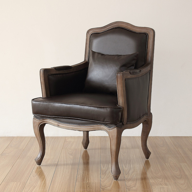 American Country To Do The Old Leather Antique Armchair Chair Lounge Chair  Wood Living Room Den