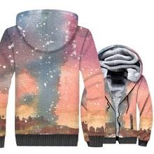 M-5XL Space Galaxy 3D Hoodies 2019 Winter Star Jackets Men Warm Fleece Sweatshirt Loose Fit Zipper Coat Harajuku Brand Hooded