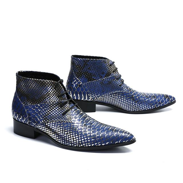 New Men Ankle Boots Real Leather Mixed Color Snakeskin Pattern Blue Red Pointed Toe Lace Up Business Style Masculine Boots Men