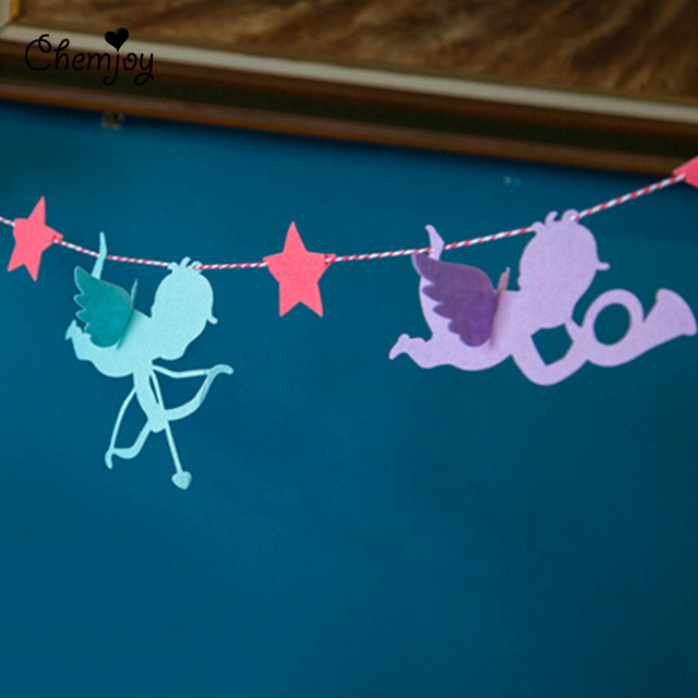 Birthday Party Hanging Little Angel Garland Banner Flags Baby Shower
