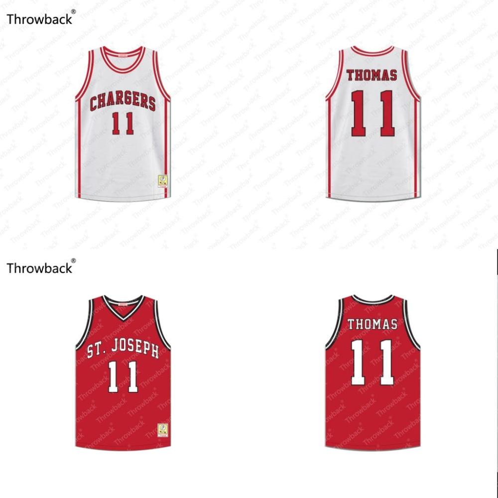Исайя Томас #11 Зарядные устройства средняя школа белый красный обруч мечты возврат фильм Баскетбол Джерси сшитые S-4XL