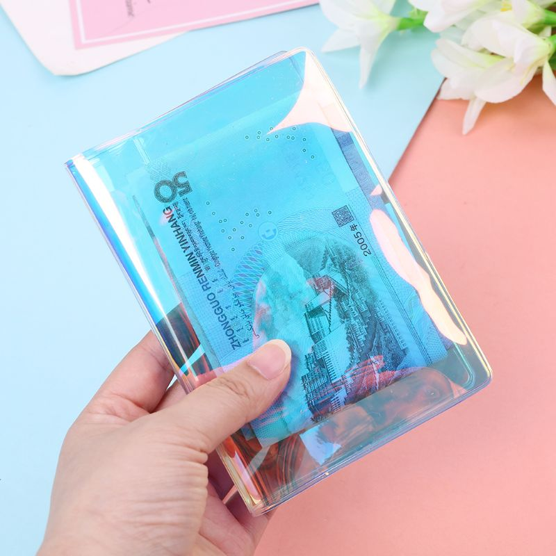 Fashion New Women Men Transparent Travel Holographic Passport Holder ID Card Case Cover Credit Organizer Protector Casual 2019