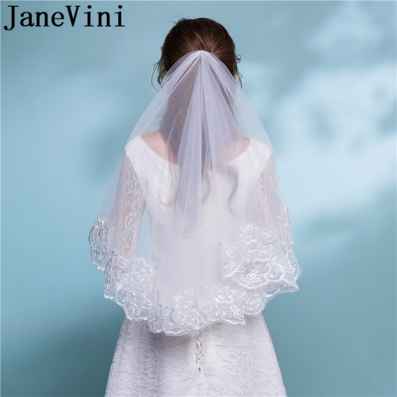 JaneVini White Champagne Red Bridal Veil Ivory Lace Short Elbow Wedding Veil Appliques Long Cathedral Bride Veils 1.5M 2M 3M 5M