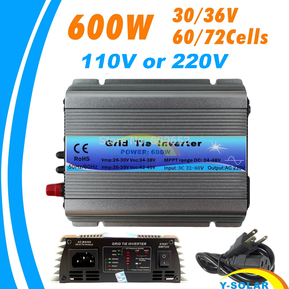 600W MPPT micro Grid Tie Inverter 30V 36V Panel 72 Cells Function Pure Sine Wave 110V 220V Output On Grid Tie Inverter 22-60V DC 22 50v dc to ac110v or 220v waterproof 1200w grid tie mppt micro inverter with wireless communication function for 36v pv system