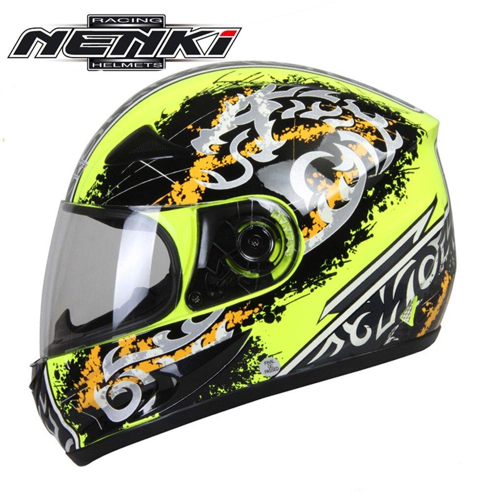 ФОТО NENKI Full Face Motorcycle Helmet Capacete da Motocicleta Cascos Moto Casque Kask 816d Racing Riding Men Women Helmet with Scarf