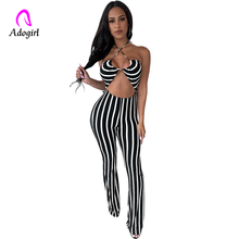 Black Stripe Womens Jumpsuit Sexy Women Elegant Playsuit Rompers Summer Halter Backless Club Party