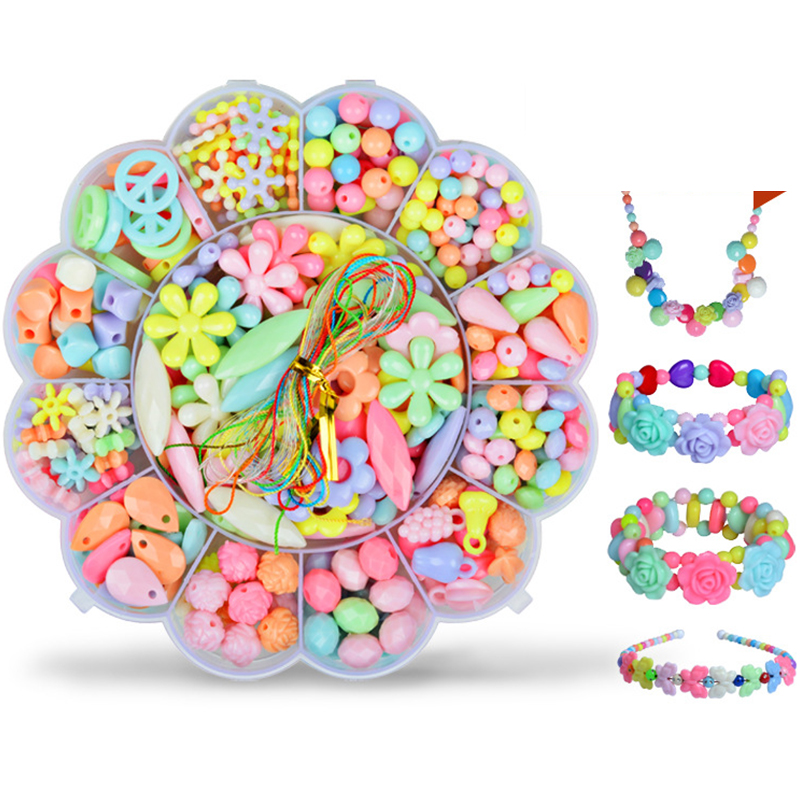 350pcs DIY Beads Toys Acrylic Colorful Mixing With Flower Box Charm Beads For DIY Jewelry Toy For Children