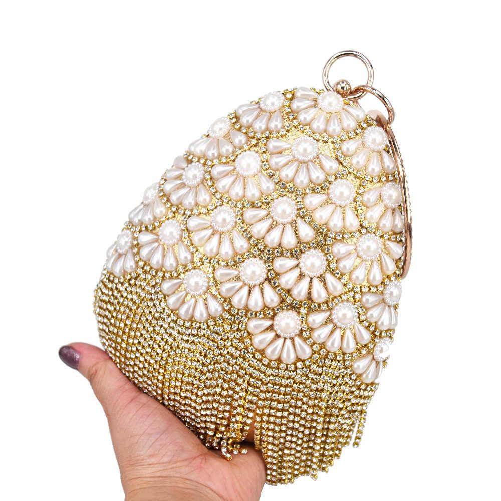 В форме ракушки золотые хрустальные вечерние клатчи жемчужные бусины женские ремешки для сумки Вечерняя Сумка Женский кошелек сумки YX1199-7