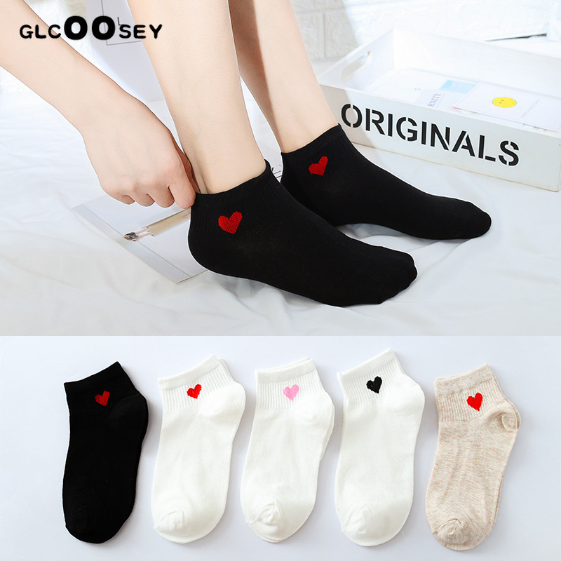 Women Girl Female Cotton Boat Socks Summer College Style Ladies Mujer Low Cut Street Fashion Skateboard Love Heart-Shaped White