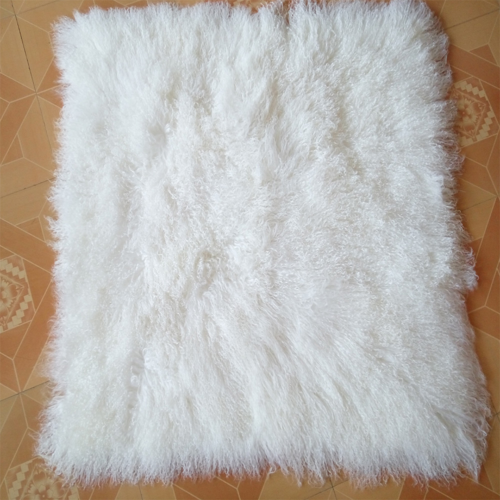 White Mongolian Lamb Fur Rug Genuine
