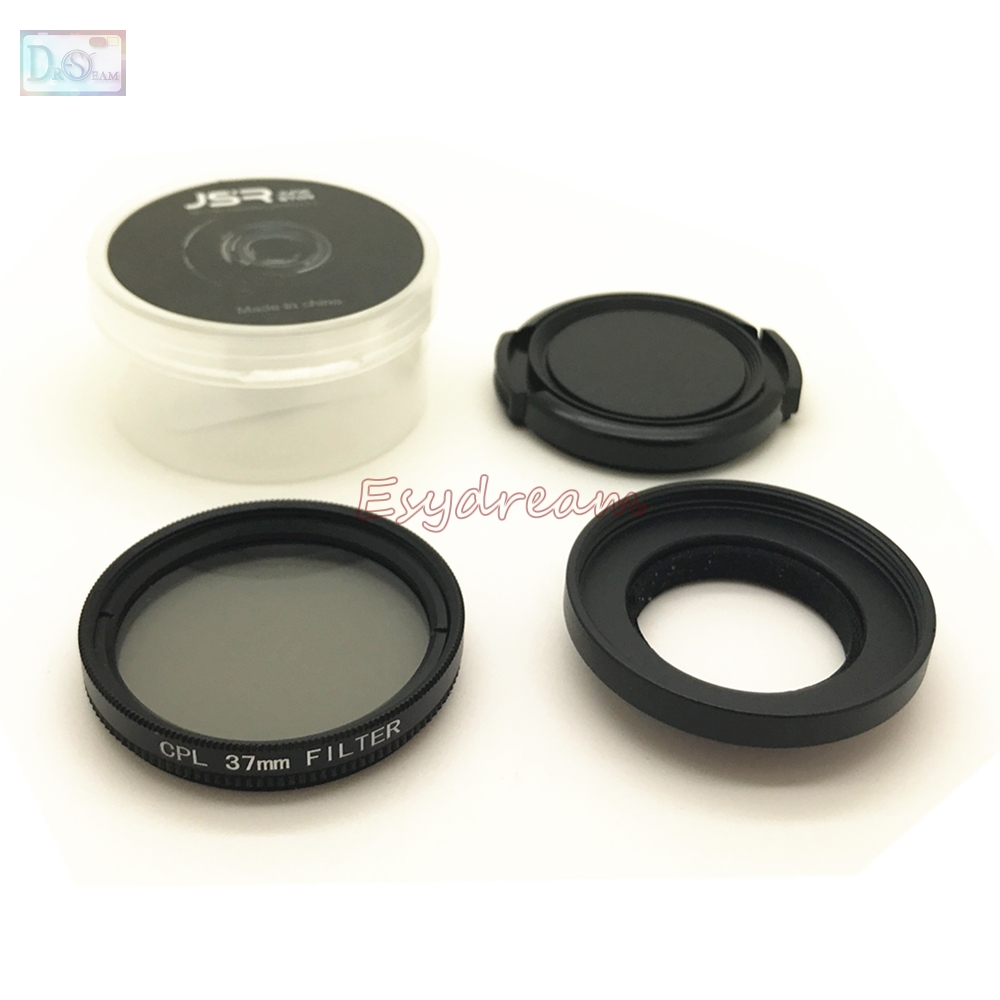 Hot Sale 37mm Cpl Filter Ring Adapter Lens Cap Kit 3in1 Set For Xiaomi Yi Action Camera Ii 4k Xiaoyi Plus Sport Cam Accessories 37 Mm