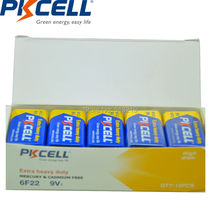 20PCS PKCELL Super Heavy Duty 9V 6F22 thermometer Dry Zinc Carbon Battery replace 9 v 6lr61 PP3 6F22 6LR61 MN1604 batteries
