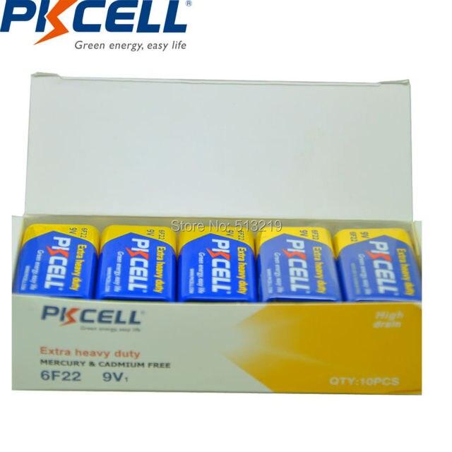 Аккумуляторы PKCELL повышенной прочности, сменные батареи 9 В 6F22 6lr61 PP3 6LR61 MN1604, термометр, 20 шт.