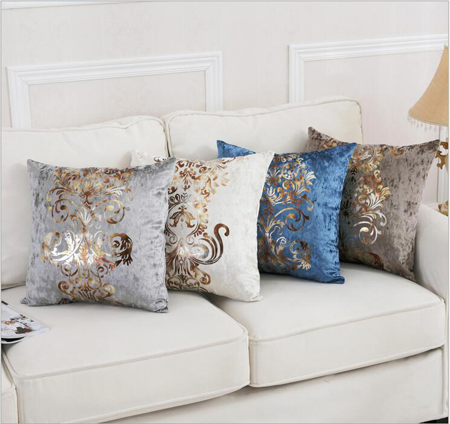 Shinny silver gold print velvet Wholesales Pillow cushion ivory Grey red Cushion cover floral Home Decorative 45x45cm