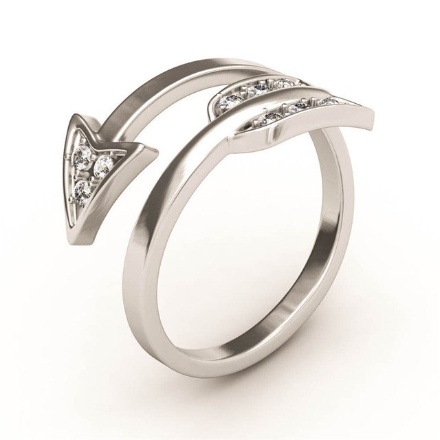 Toll EVBEA Open Arrow Ring White Gold CZ Crystal Cupid Couple Rings For Women  2017 Valentineu0027s Day