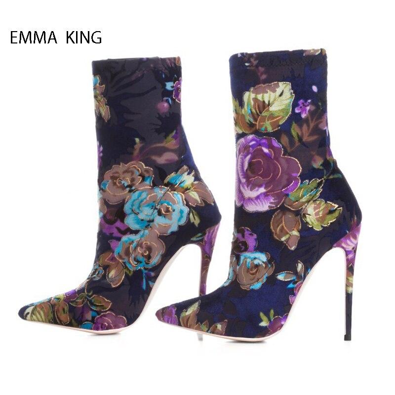 Chaussures Pic Pour Pointu Bout Mélangées automne Mujer Bottes Stretch Botas Talons Femmes Fleurs Printemps Couleurs As Hauts Cheville Mince Parti Femme pZRwv0