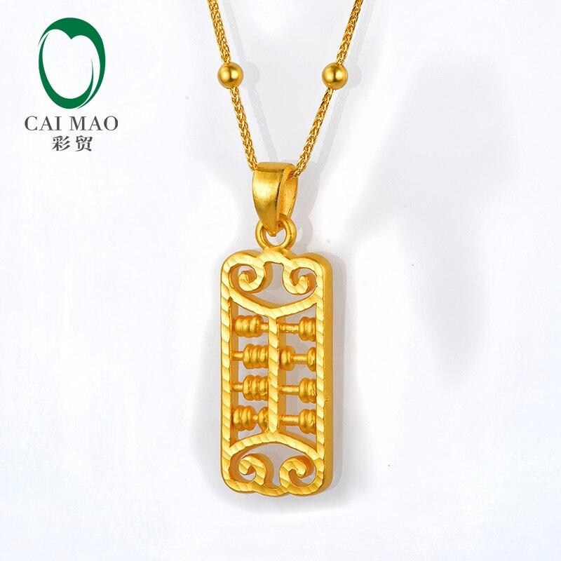 CAIMAO 24 K or pur boulier Design exquis amant cadeau bijoux fins réel 999 3d dur processus or pendentif à la mode