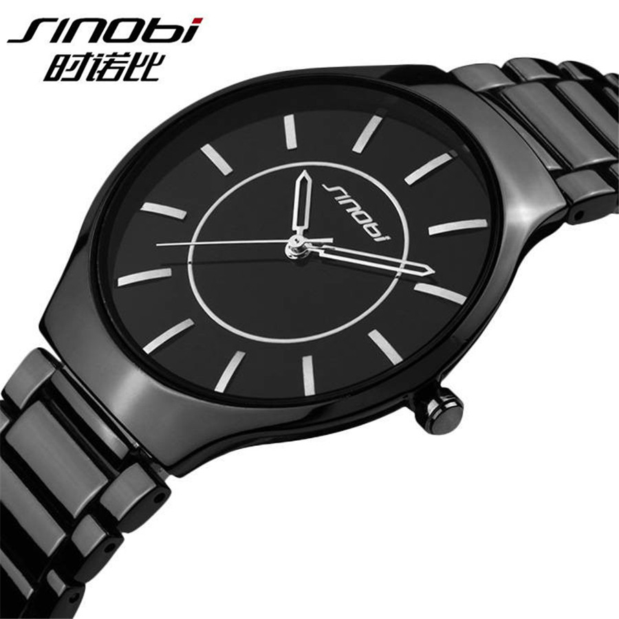 New Sinobi Luxury Brand Men Quartz Watch Waterproof Analog Full Stainless Steel Men Women lovers Wrist Watches Relogio Masculino skmei luxury brand stainless steel strap analog display date moon phase men s quartz watch casual watch waterproof men watches
