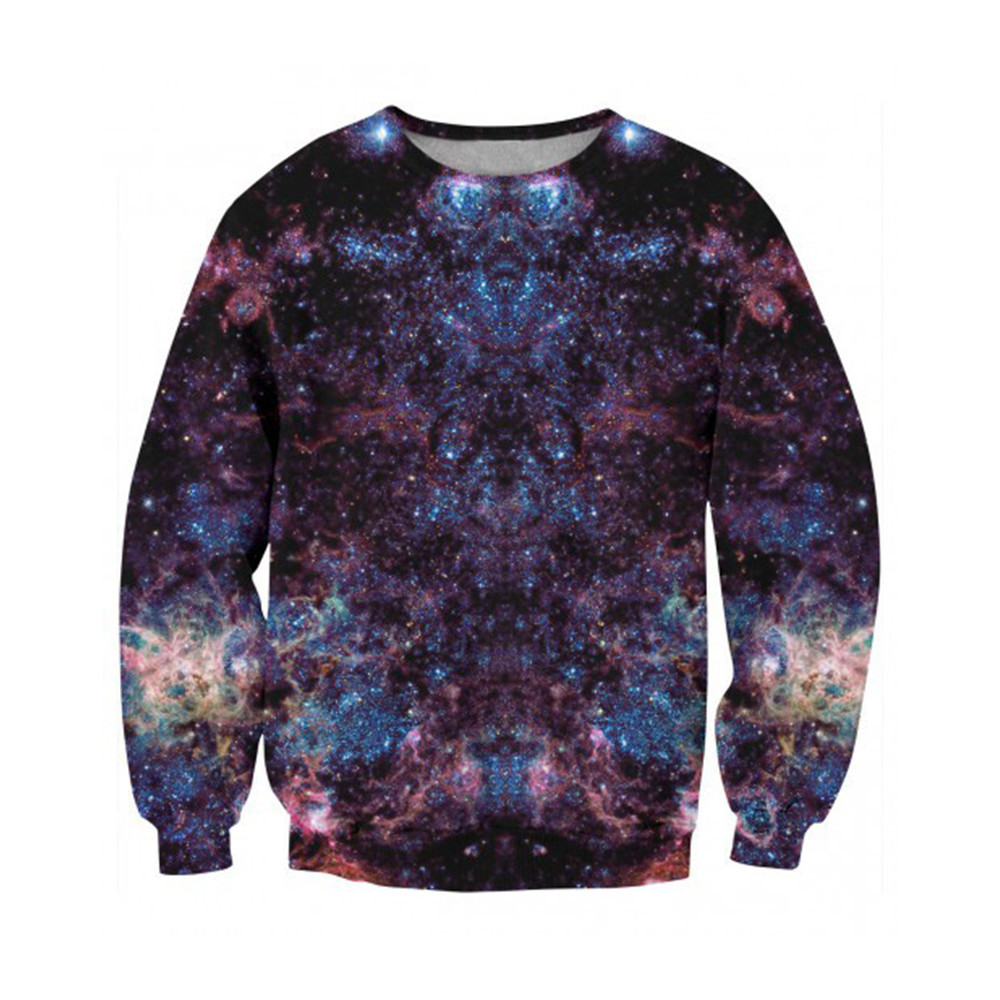 Purple Pullover Male O-neck Casual Clothes Sweatshirt 3d Starry Sky Printed Tracksuits Fitness Man Muscle Workout Spring Outwear