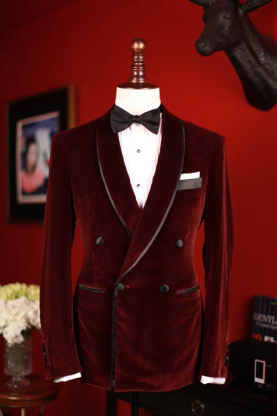 Wine Color Slim Fit Men Wedding Suit Velvet Elegant Groom