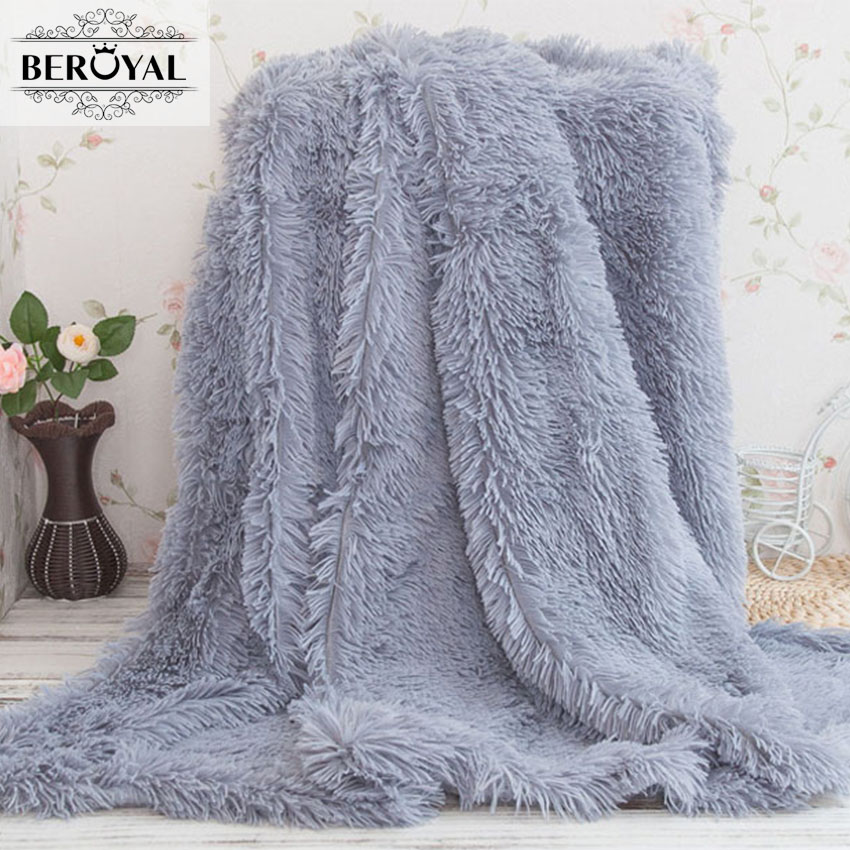 Beroyal Brand Super Soft Throw Blanket Long Shaggy Fuzzy Fur Faux Fur Warm Elegant Cozy Blankets With Fluffy Sherpa new 2017 throw blanket 1piece 140 190cm cotton gauze terry blankets super soft dotted adult blanket 140 190cm brand