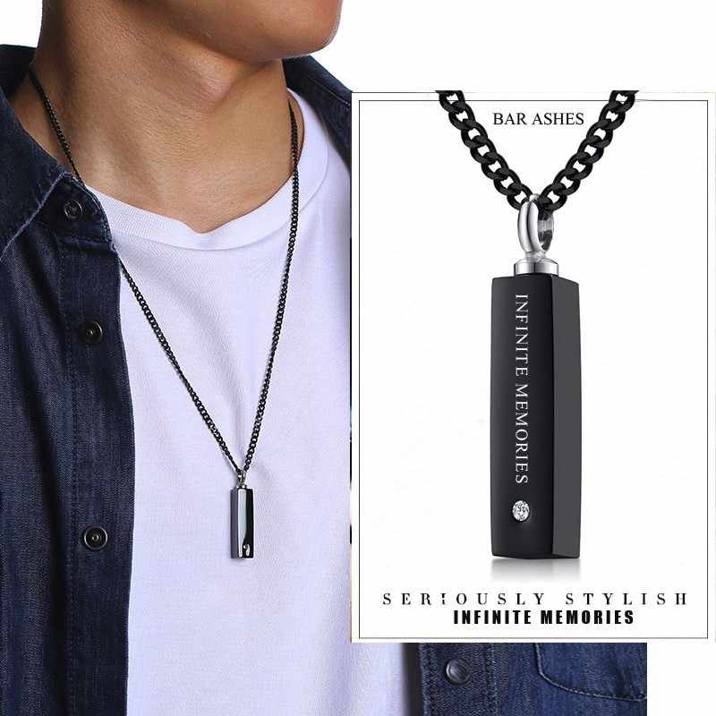 Infinite Memories Black Bar CZ Ash Pendant Urn Necklace for Men Women Stainless Steel Cremation Ashes Jewelry Free Engraving