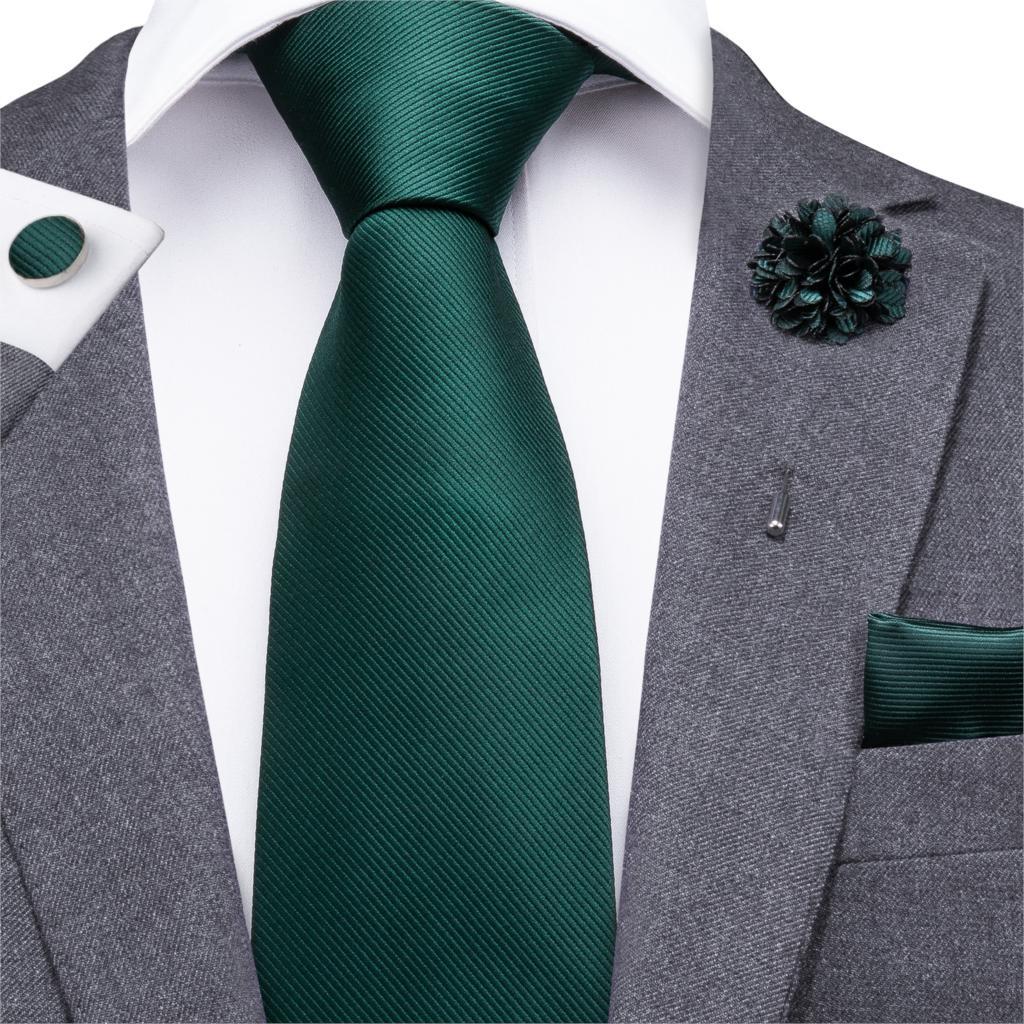 CX-830 Green Men's Neck Tie Set Silk Necktie Turquoise Boutonniere Handkerchiefs Sets Emerald Business Wedding Ties For Men