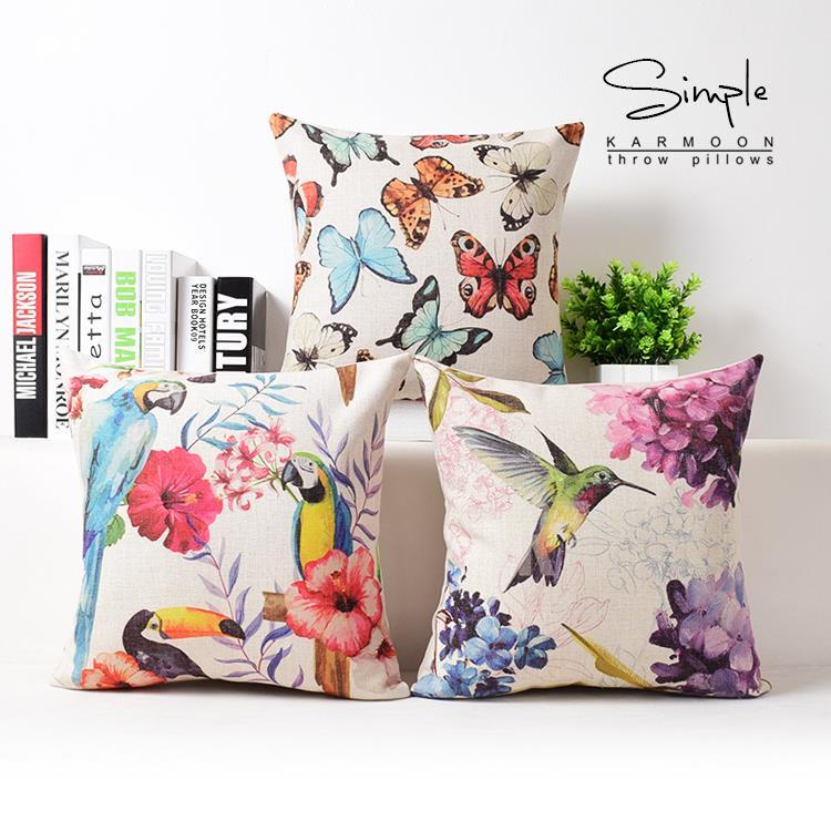 Country Ink Bird Floral Pillow Cushions, Parrot Butterfly Cushion , Linen Pillowcase,sofa Cushions Home Decorative Pillows