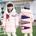 New kids зимняя куртка девушки сгущает средней длины девушки верхняя одежда пальто с капюшоном хлопка мягкий пуховик теплый детская одежда