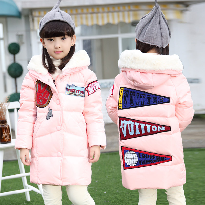 New kids winter jacket girls thicken medium long girl outerwear coat hooded cotton padded down jacket