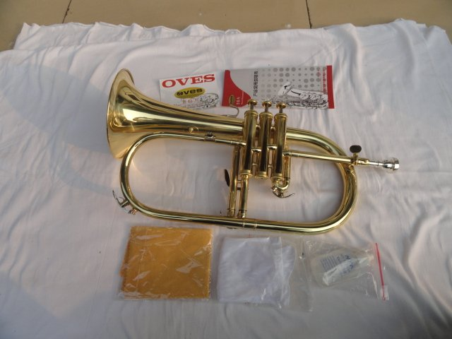 VOES New Arrival Bb Trumpet Yellow Brass Gold Lacquer Flugelhorn Trumpet Advanced Small Youth Tube Paint B Flat Trumpete