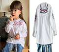 2016 Arrival Spring Autumn Children Clothing Brand Girl White embroidered Long Sleeve Shirt Girl O- neck T Shirt Kids Top shirt