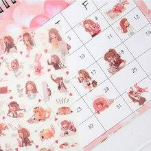 6 pcs/lot Cute Kawaii Girls Paper Sticker Stationey Decoration Stickers for Diary Photo Album DIY Scrapbooking School Supplies