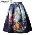 Neophil Retro Gothic 50 s Princesa Real Fantasia Pintura A Óleo Do Vintage Impressão de Cintura Alta Plissada Midi Saias Mulheres Saias S1607022