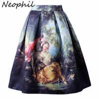 Neophil Retro Gothic 50 s Prinzessin Royal Vintage Fantasie Ölgemälde Drucken Hohe Taille Midi Plissee Röcke Frauen Saias S1607022