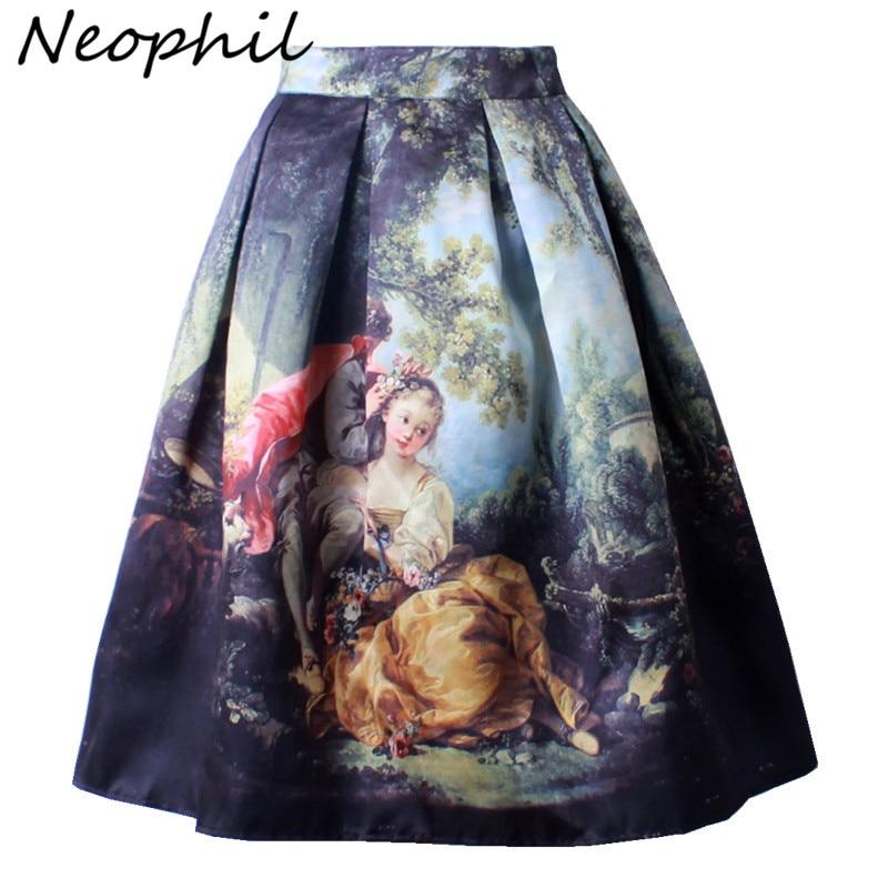 Neophil Retro Gothic 50s Princess Royal Vintage Fantasy Oil Painting Print High Waist Midi Pleated Skirts Women Saias S1607022
