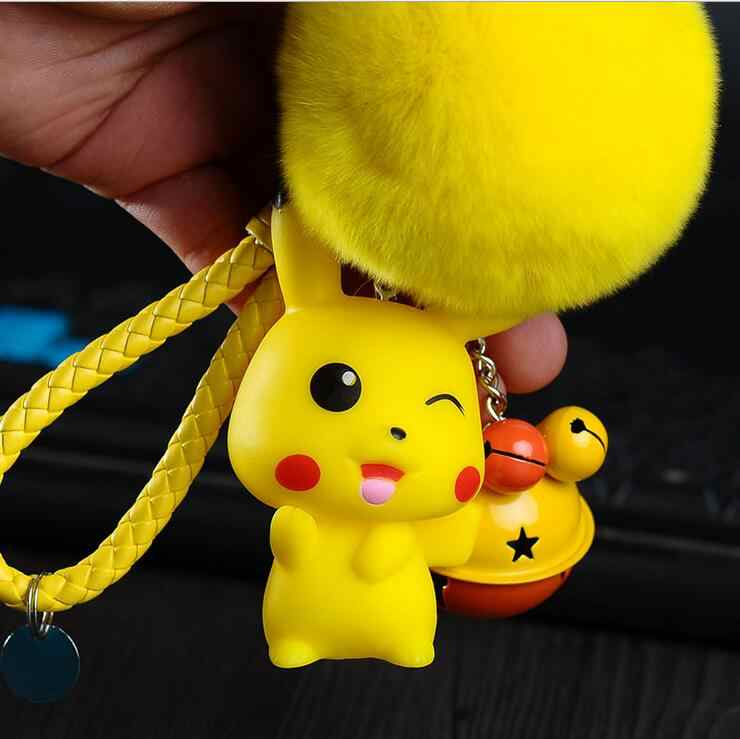 Corda Trançada de Couro Dos Desenhos Animados Anime Pokemon Pocket Monsters Pikachu Saco Chave Do Carro Anéis Chaveiro Pele Pequenos Sinos Pingente Titular