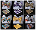 Check Classic 100%Silk Jacquard Woven Men Butterfly Self Bow Tie BowTie Pocket Square Handkerchief Suit Set #CB
