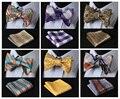 Compruebe Classic 100% Seda Jacquard Tejida Hombres Auto Pajarita de Mariposa BowTie Pocket Square Pañuelo Set Suit # CB