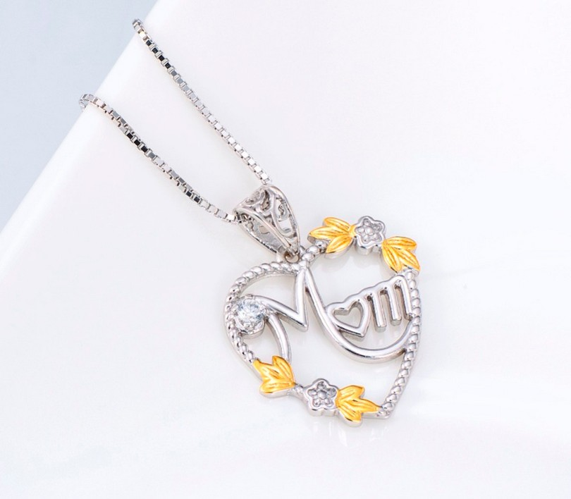 925 Sterling Silver Heart MOM Pendant Long Chain Statement Choker Necklace for Women Fashion Jewelry Best Mother's Day Gift 2019 2
