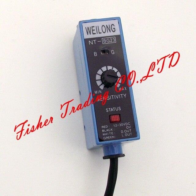 NT BG22 de capteur de weilong de code couleur NT BG23 pour des machines à emballer, source lumineuse de commutateur photoélectrique en métal ajustée/bleu et vert