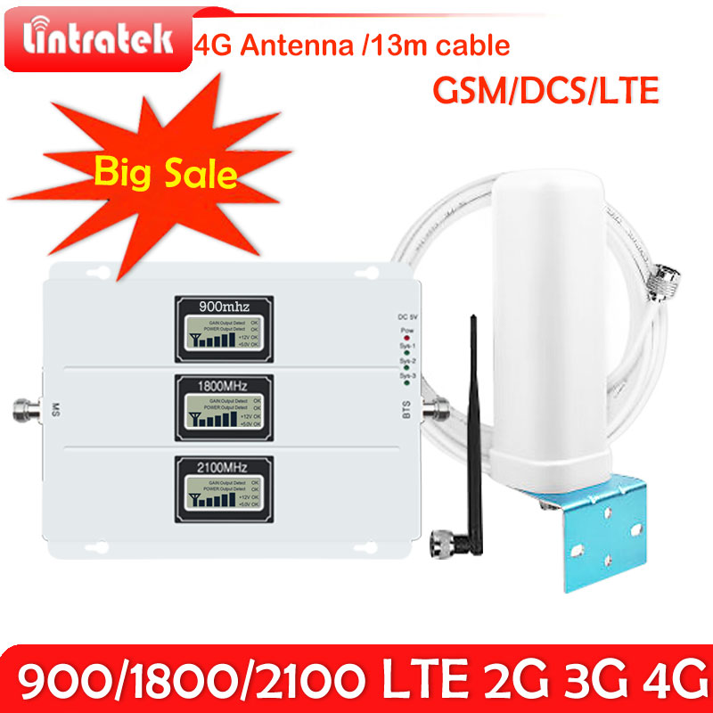 Lintratek 2G 3G 4G tri-band Signalverstärker 70dB GSM 900 LTE 1800 WCDMA 2100 mhz Mobilfunksignalverstärker Repeater 3G 4G antennen