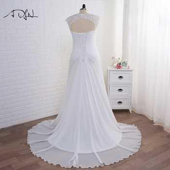 ADLN Stock Plus Size Wedding Dresses Elegant V-neck White/Ivory Applique Beaded Chiffon Beach Bridal Gown Vestidos de Novia 2019